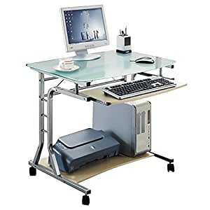 SixBros Mobile Computer Desk PC Workstation Office Desk Maple CT 379