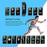 WiMiUS Fitness Armband mit Pulsmesser, Wasserdicht IP68 Fitness Tracker, Aktivitätstracker, Schlaf Monitor,Schrittzähler, GPS, Kalorienzähler Uhr Smart Watch für Damen Herren (Schwarz) - 2