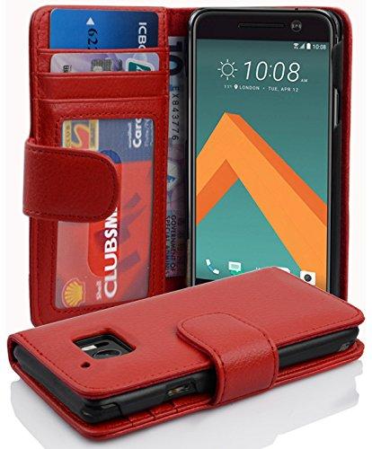 Cadorabo Hülle für HTC 10 (One M10) - Hülle in Inferno ROT – Handyhülle mit 3 Kartenfächern - Case Cover Schutzhülle Etui Tasche Book Klapp Style