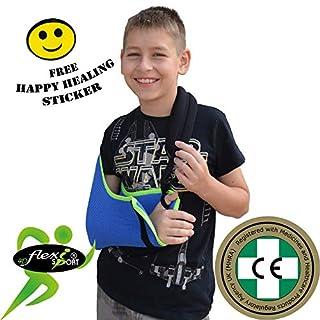 Kinder-Armschlinge Xtra Deep Cooling, wendbar, leicht anzubringen, verstellbar, Daumenschlaufe, Smiley-Aufkleber. Unisex. (Blau)