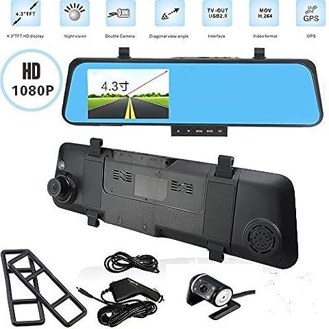 Botetrade HD Recorder Dual Lens Car Camera Video DVR Dash Cam Rearview Mirror LCD Screen Specchietto Retrovisore