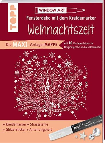 Maxi-Vorlagenmappe Fensterdeko mit dem Kreidemarker - Weihnachtszeit. Inkl. Original Kreul-Kreidemarker, Sticker und Glitzer-Steinchen: 10 ... Ideen, sämtliche Motive als Download