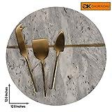 Gauri Kohli Beautiful Marble & Brass formaggi/Charcuterie piatto da portata; con 3pz. Set di coltelli da formaggio in ottone (taglia grande | Forma rotonda | Colore grigio)