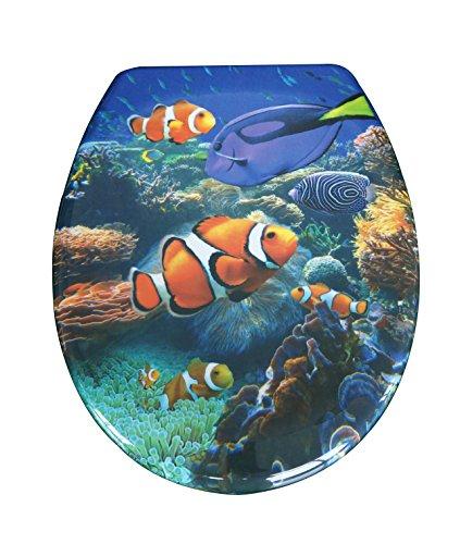 Duroplast,Toilettensitz Wc-Sitz mit Absenkautomatik und Schnellverschluss Sea Life