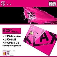 Mobile Sim Prepaid SIM Card with 1500MIN 1500SMS 3GB LTE for Austria (Insert & Surfing)