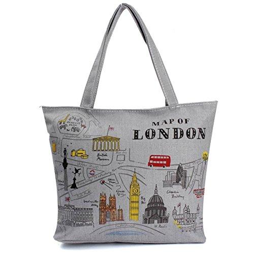Minetom Damen Canvas Totes Handtaschen-Frauen Umhängetaschen Einkaufstüten Multi Muster ( London )