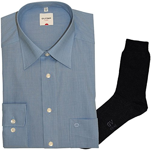 Olymp Hemd Luxor Comfort Fit - langarm, Kent Kragen, blau, Fil à Fil+ 1 Paar hochwertige Socken, Bundle Blau