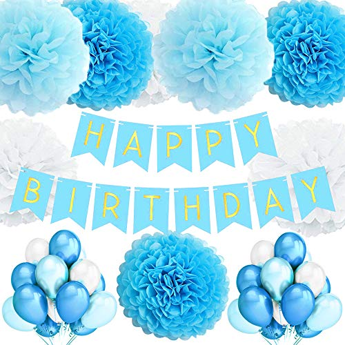 TopDeko Geburtstagsdeko Mädchen und Jungen, Geburtstag Dekoration Mädchen und Jungen mit 30pcs Große Geperlte Ballons, 9Pcs Seidenpapier Pompoms, 1 Set Happy Birthday Banner (Blau)
