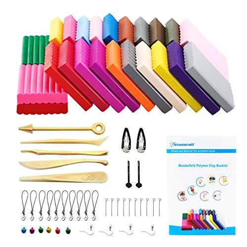 Schlüsselanhänger Clay (Polymer Ton 24 Farben Clay, WonderforU Fimo Ofen Backen Lehm Kinderknete und Werkzeuge)