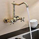 ETERNAL QUALITY Badezimmer Waschbecken Wasserhahn Messing Hahn Waschraum Mischer Mischbatterie Tippen Sie auf Das Waschbecken Armaturen in die Wand der goldene Wasserhähn
