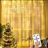 AGPTEK Tenda Luci Natale da Inverno 300 LED 30m, Tenda luminosa Impermeabile IP65 con Telecomando, 300 LED Luci Stringa Led con 8 Modalità per Decorazione Natale, Halloween,Matrimoni. 3x3 m