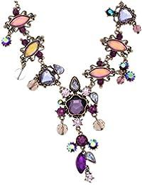 96c8094d7ed9 Collar de Cadena de Color Bronce - Collar de Piedra de Cristal Violeta con  Colgante Largo - Collares Bonitos para…