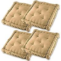Gräfenstayn® Set de 4 Cojines, Cojines para Silla de 40 x 40 x 9 cm para Interior y Exterior de 100% algodón cojín Acolchado/cojín para el Suelo (Beis)