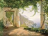 VIEW TO THE AMALFI COAST von Carl Frederic Aagaard , Blick auf die Amalfi Küste , Giclee , Digitaldruck auf Leinwand gedruckt, mit Keilrahmen gerahmt, Klassik, Landschaftsbild, Wohnen und Bilder, Keilrahmenbild , Fertigbild direkt zum Aufhängen , Kunstartikel Leinwandfertigbild , Grösse 80 cm x 53 cm , Wohnen und Bilder, Klassische Motive, Museumskunst, Kunst aus dem Museum