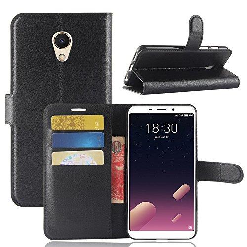 Kihying Hülle für Meizu M6s / Meilan S6 Hülle Schutzhülle PU Leder Flip Wallet Fashion Geschäft HandyHülle (Schwarz - JFC02)