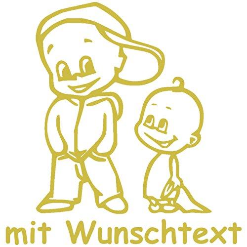 Babyaufkleber Autoaufkleber für Geschwister mit Wunschtext - Motiv Z38-JJ (16 cm)