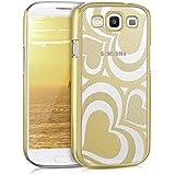 kwmobile Crystal Case Hülle für Samsung Galaxy S3 / S3 Neo mit Herz Design - transparente Schutzhülle Cover klar in Gold Transparent