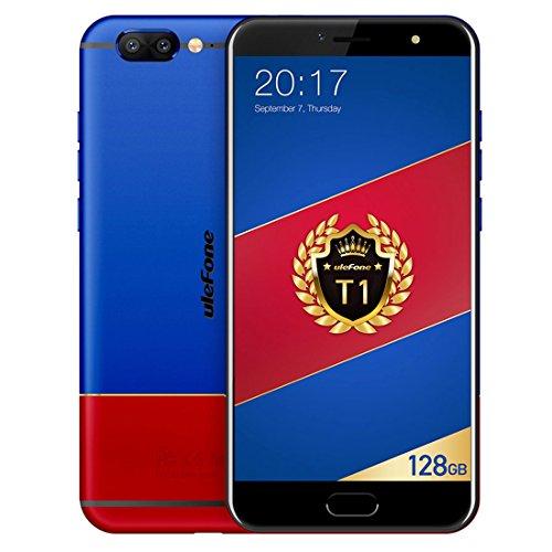 """Ulefone T1 5,5"""" 4G Smartphone, 6GB RAM 128GB ROM Android 7.0 8-Core 2.6GHz, Fotocamera 16MP+5MP, Frontale 13MP, Impronte Digitali, Dual SIM, Telefono Cellulari Sbloccato (Blue)"""