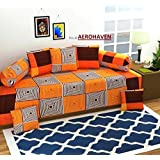 Choice Homes Cotton DIWAN Set 8 Pieces of Combo 5 Cousins,2BOLSTER with Single BEDSHEET