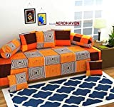 #6: Choice Homes 3D diwan Set Printed 8 Piece of Combo 5 Cousins and 2 Bolster with Single bedsheet