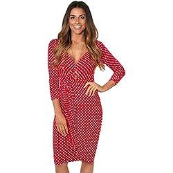 KRISP Vestido Moda Mujer Fruncido, Rojo (6487), 46, 6487-RED-18