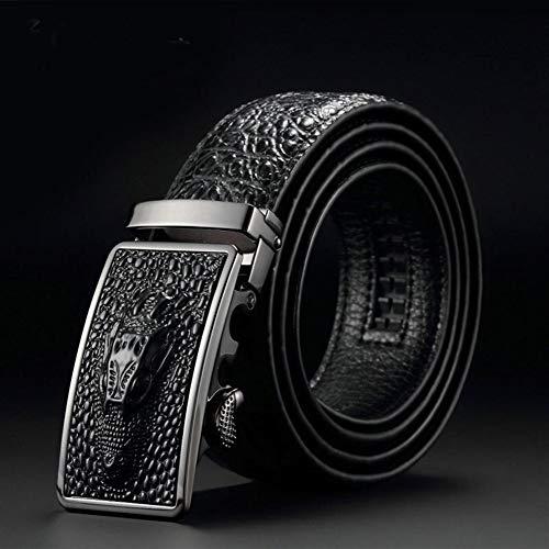 WUTOLUOHANOS Cinturones de Cuero for Hombres, cinturón de Hebilla automática con Cabeza de Piel de cocodrilo de imitación (Color : 002, tamaño : 125cm)