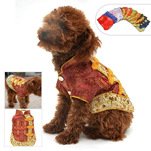 Lovelonglong 2019 Hundekostüme Cheongsam Qipao Kleider für kleine Hunde Katzen Haustiere Tang Dynastie Kostüm, L (for small Dog), Amaranth red