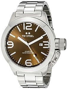 TW Steel Canteen Unisex reloj de cuarzo con marrón esfera analógica y plata pulsera de acero inoxidable