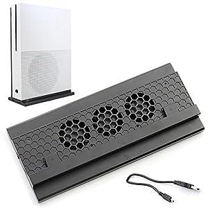 ADZ Xbox One S Vertikaler Kühlständer, 3 Lüfter und 2 Port USB HUB zum Laden und Übertragen von Daten