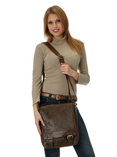 Greenburry Cambridge Pure Nature Umhängetasche Leder 27 cm marron