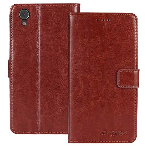 TienJueShi Brown Flip Book-Style Brief Leder Tasche Schutz Hulle Handy Case Abdeckung Fall Wallet Cover Etui Skin Fur Caterpillar Cat S41 5 inch -