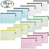 cococity 15 Stück Dokumententasche A4 Mesh Dokumente Beutel mit Zipper Dokumentenmappe für Organisationsbedarf, Kosmetik, Reise Zubehör