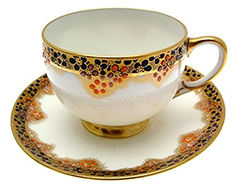 c1914 Star China Paragon F787 Orange Blue Cup & Saucer by Paragon