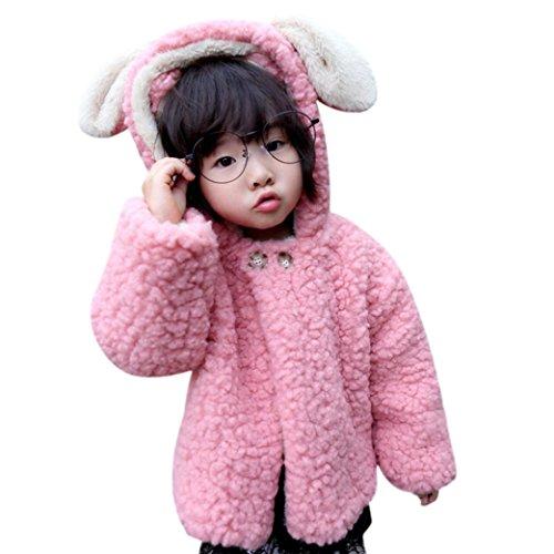 EARS Baby - Baby Infant Mädchen Jungen Herbst Winter Netter Ohren Kapuzenmantel Manteljacke Baumwollmischung Wolle Dick Warm Kleider (18M, Rosa)