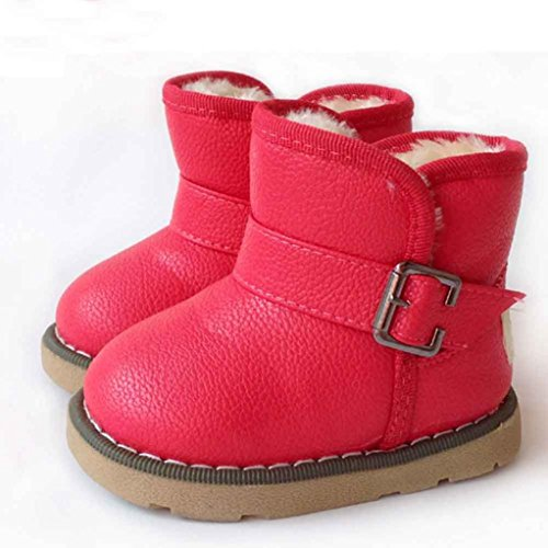 Jamicy® Baumwolle Lederschuhe Winter Baby Mädchen Kind Martin Stiefel warme Schuhe Rot