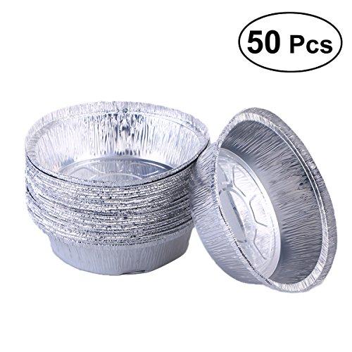 BESTONZON 50Aluminium Auffangwannen Einweg Aluminium Folie Tabletts Runde Form Aluminium Food-Tabletts Take Out Pfannen Ideal für Mahlzeiten Prep, Pies, Kuchen, Fleisch (Ohne Deckel/15,2cm) Aluminium Food Tray