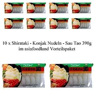 10 x Shirataki - Konjak Nudeln - Sau Tao 340g - asiafoodland Vorteilspaket inkl. 3 x gratis Real Stevia Sticks (3x2 g)