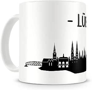 Samunshi® Lübeck Skyline Tasse Kaffeetasse Teetasse H:95mm/D:82mm weiß