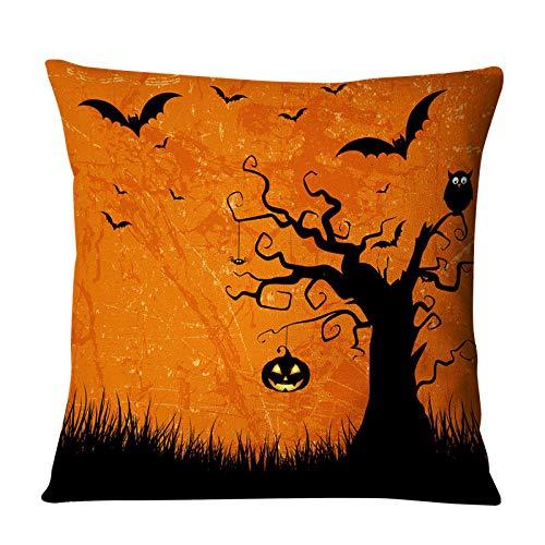 Tingxx Lantern Santa Claus Wishes Halloween Pumpkin Linen Sofa Hug Pillowcase Office Car Cushion Cover Creative Home Gift Five Piece@5_Piece_Set_H