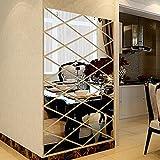 Fuibo DIY 3D Aufkleber Spiegel Aufkleber Home Wohnzimmer Dekoration (Silber)