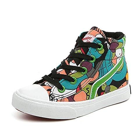 Basket mode garçon fille graffiti chaussure loisir creeper gothique en toile slip-on sneakers fashion pour mixte enfant antidérapant bleu foncé 23