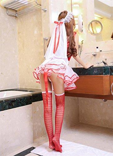 LTBZH sexy Unterwäsche Braut Brautkleid mit Kopf Garn Peng Peng Rock Polyester Uniform Red