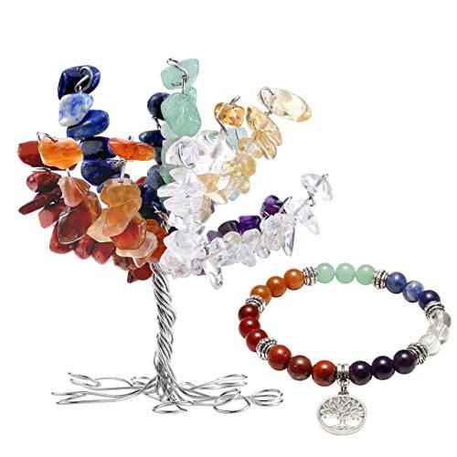 JOVIVI 7 Chakras Geldbaum Lebensbaum Dekoration + Baum des Lebens Anhänger Balance Reiki Yoga-Armband Dekor Schmuck Set Balance Skulptur