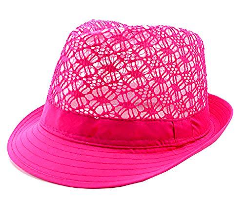 Damen Sommer Strand Hut Designer Party Fedora Neon pink
