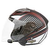 Leaf&Y Demi-Casque Bluetooth pour Moto à Face Ouverte, Casque de Moto Racing Jet Scooter avec Casque, Haut-Parleur et Micro pour Quatre Saisons,Clear,XXL