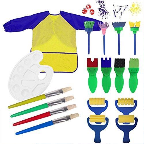 Pennelli di spugna pittura, 18 pezzi paint spugne per bambini lavabile set di pennelli con palette e grembiule apprendimento precoce strumenti di pittura arte mestiere fai da te