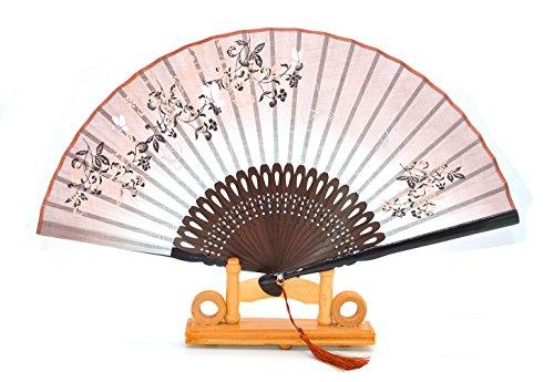 Hot-box-fan (Hand-Faltfächer aus Seide und Bambus (fliegender Schmetterling und Blumen), Seidenbeutel und Geschenk-Box im Lieferumfang enthalten, coffee)