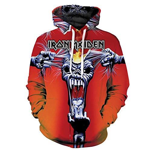 BINGXINK Kapuzenpullover,Der Iron Maiden Band 3D-Digitaldruck Der Männer, Modischer Cooler Langarm-Hoodie @ XL_Orange