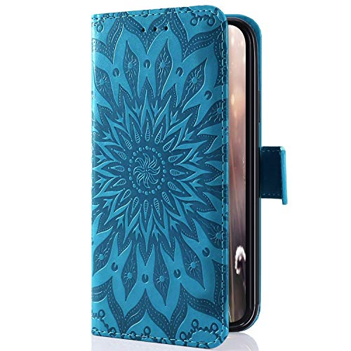 Uposao Kompatibel mit Sony Xperia XZ4 Compact Handyhülle Mandala Blumen 3D Muster Leder Hülle Flip Schutzhülle Handytasche Brieftasche Wallet Bookstyle Case Magnet Stand Kartenfächer,Blau