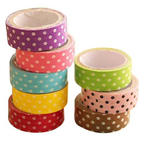 Fablcrew DIY Kreativ Punkte Washi Tapes Dekorative Tape Bunten Klebeband Masking Tape für Scrapbooking Dekoration 8 Rolls/Set 3m*1.5cm (Machen Sie Ihre Eigenen Karten-set)